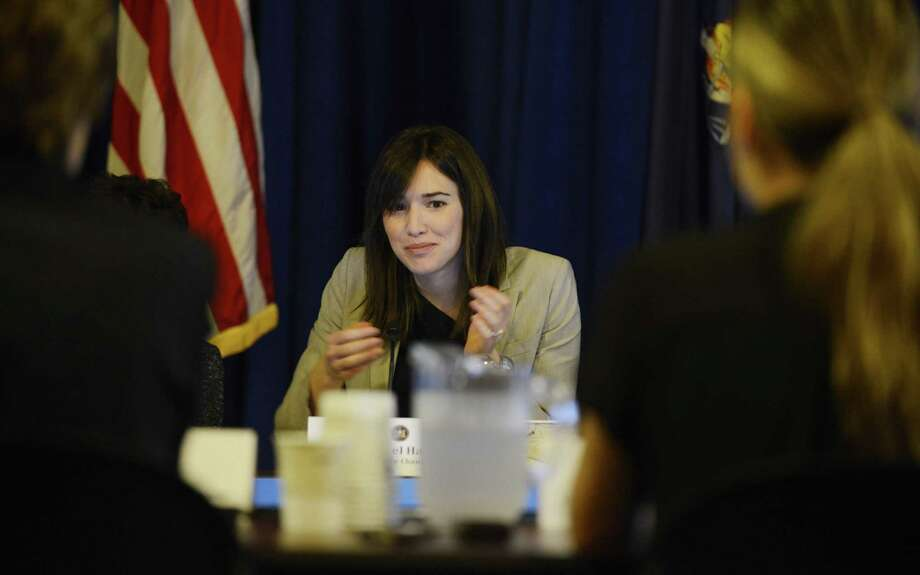 Rachel Haot, state deputy secretary for technology, listens to Ellen Meier, associate professor of computing and education at Columbia University, during a Smart Schools Commission public symposium on how to enhance teaching and learning through technology Monday, July 21, 2014, at the Capitol in Albany, N.Y. The Smart Schools Commission is responsible for advising the State on how to best invest the proposed $2 billion Smart Schools Bond Act in order to enhance teaching and learning through technology. (Will Waldron/Times Union) Photo: WW / 00027855A