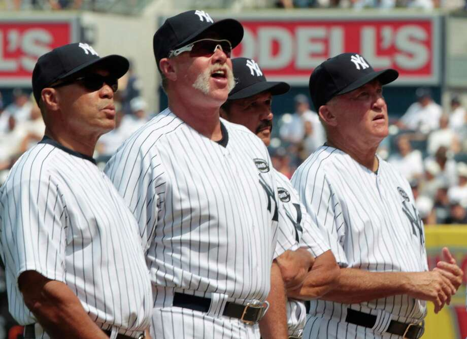 "Retired New York Yankee's, left to right, Reggie Jackson, Rich ""Goose"" Gossage, Ron Guidry, and Graig Nettles participate in Old Timers' Day ceremonies at Yankee Stadium on Saturday, July 17, 2010 in New York. (AP Photo/Frank Franklin) Photo: Frank Franklin / AP"