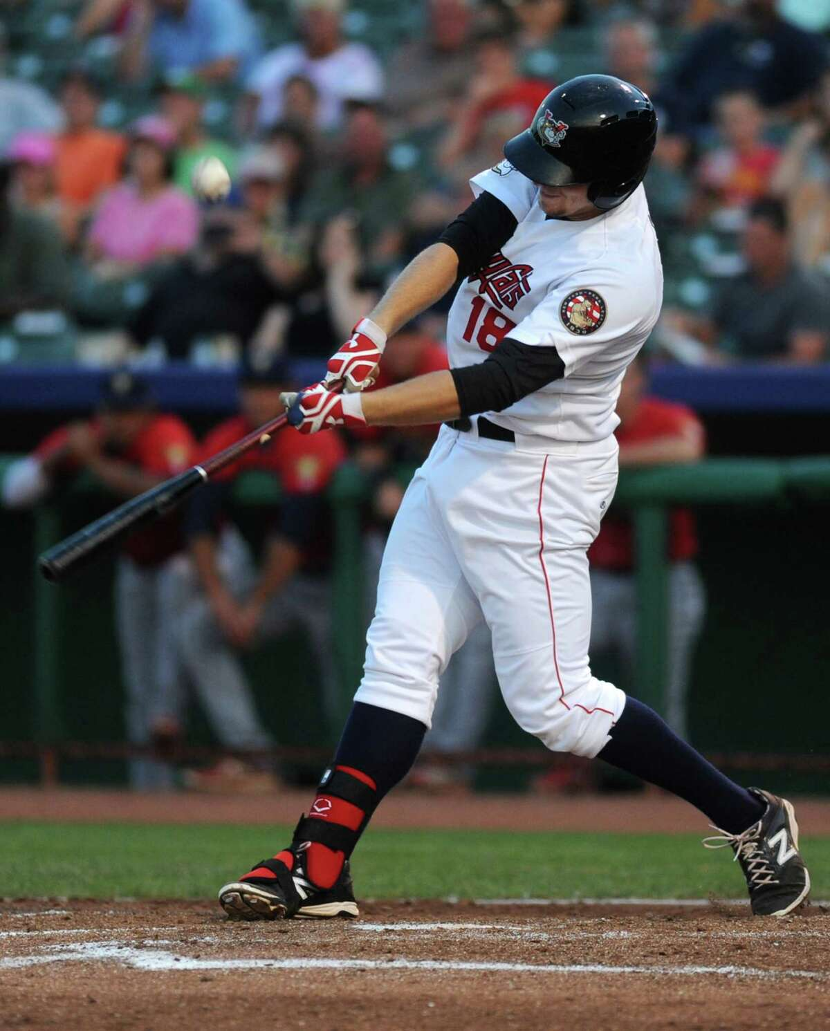 Tri-City ValleyCats batter AJ Reed hits the ball during a baseball game against the State College Spikes on Monday, July 21, 2014 in Troy, N.Y. (Lori Van Buren / Times Union)
