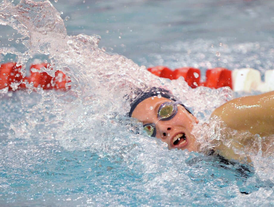 Verity Abel of Staples during the 200 freestyle event that she won in the FCIAC Girls Swim Championship at Greenwich High School, Wednesday, Oct. 30, 2013. Photo: Bob Luckey / Greenwich Time