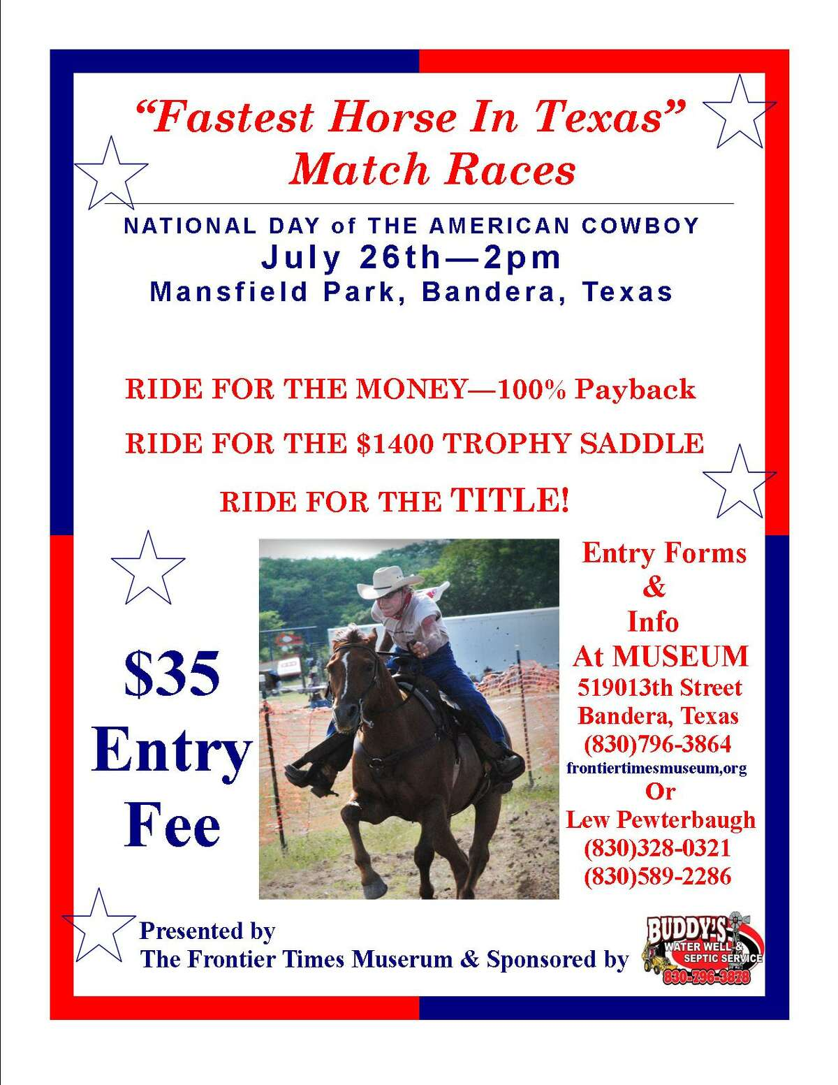 The fee for participants is $35, $25 for anyone racing a Texas Longhorn.
