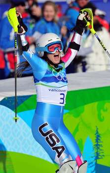 WHISTLER, BC - FEBRUARY 18:  Julia Mancuso of The United States celebrates after crossing the line during the Alpine Skiing Ladies Super Combined Slalom on day 7 of the Vancouver 2010 Winter Olympics at Whistler Creekside on February 18, 2010 in Whistler, Canada.  (Photo by Clive Mason/Getty Images) *** Local Caption *** Julia Mancuso Photo: Clive Mason, Getty Images / 2010 Getty Images