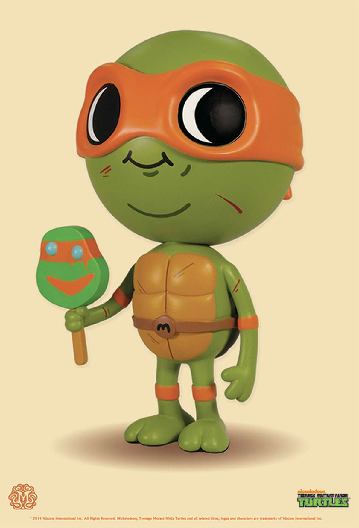 Lil Mikey Michaelangelo toy of Teen-age Mutant Ninja Turtle fame, will be among the pop culture toys being unveiled this week by Austin-based Mondo.