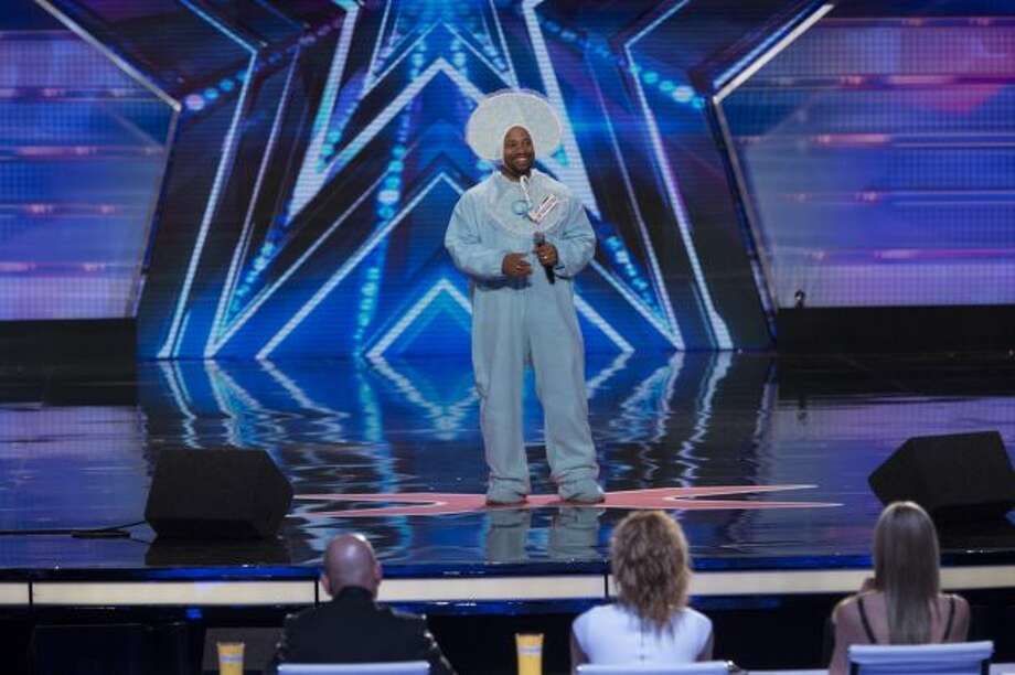 Beaumont native Aaron J. Field sings in costume on NBC's 'America's Got Talent'. Photo by: Eric Liebowitz/NBC