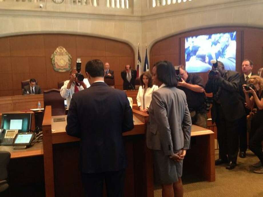 District 2 City Councilwoman Ivy Taylor is sworn in as San Antonio mayor Tuesday morning, replacing Julian Castro for the remainder of his term. Photo: Nolan Hicks