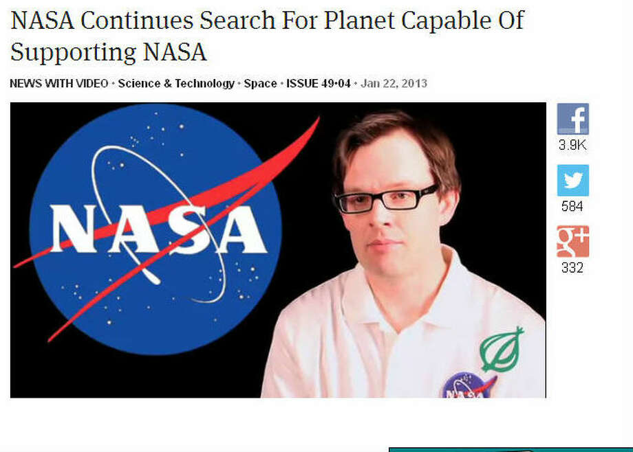 The satirical humor site The Onion has a long history of poking fun at NASA. VIDEO: NASA continues search for planet capable of supporting NASA Photo: The Onion