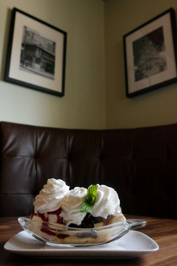 The banana split from Bistro Zelko. ( Julio Cortez / Chronicle ) Photo: Julio Cortez, Houston Chronicle