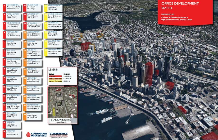 This map, by Cushman & Wakefield|Commerce, shows office buildings recently completed, under construction and proposed in and around Downtown Seattle. Click to the next photo for a zoomed-in view. Photo: Cushman & Wakefield|Commerce