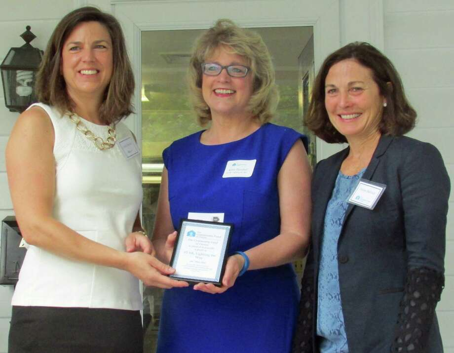 STAR Inc., Lighting the Way received a $45,000 grant award from the Community Fund of Darien. From left, Carrie Bernier, executive director of the Community Fund of Darien; Katie Banzhaf, executive director of STAR; and Susan Balloch, president of the board of directors of the Community Fund of Darien. Photo: Contributed Photo, Contributed / Darien News
