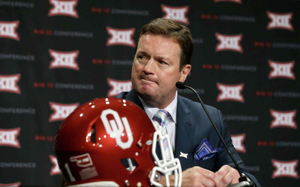4632 x 2892~~$~~Oklahoma head coach Bob Stoops listens to a reporter's question during the Big 12 Conference NCAA college football media days in Dallas, Tuesday, July 22, 2014.