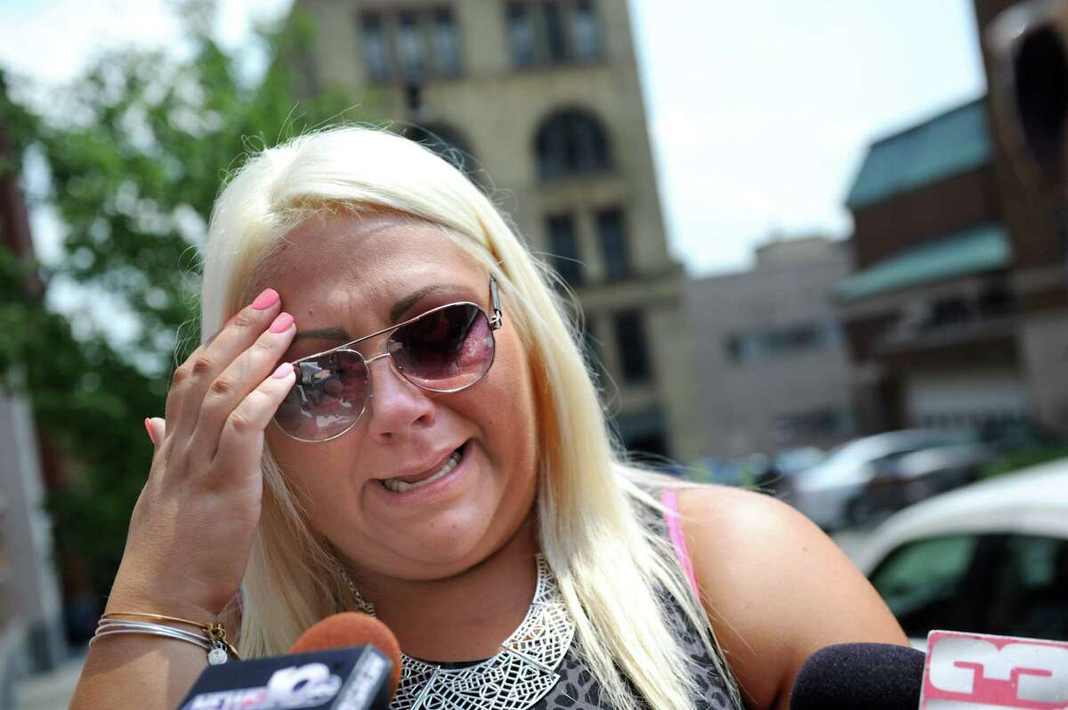 Tia Hayes, stepdaughter of victim Paul Merges, reacts to closing arguments in the trial of Pablo Cruz on Tuesday, July 22, 2014, at the Judicial Center in Albany, N.Y. (Cindy Schultz / Times Union)