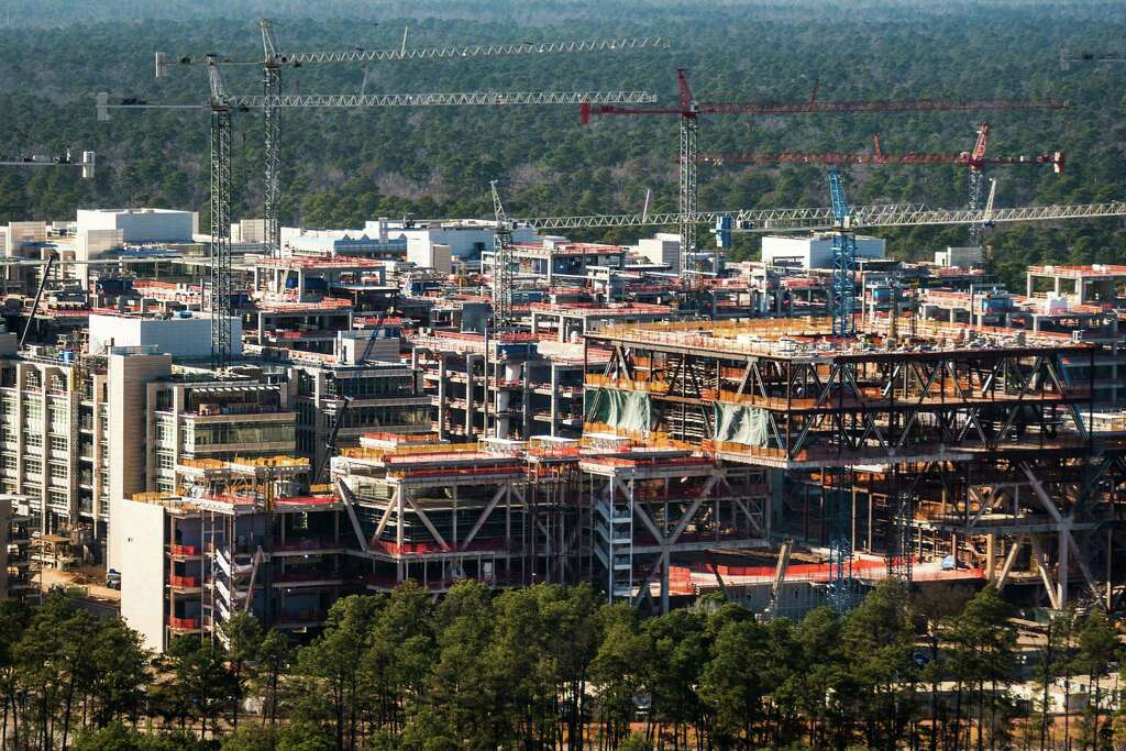 The New Exxon Mobil Corp. Campus Under Construction Near Interstate 45 And  The Hardy Toll