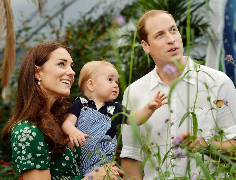 Boy George turns 1:Kate and William take their son to the Sensational Butterflies exhibition at the Natural History Museum in London in this photo released Monday to mark the young prince's first birthday. Photo: John Stillwell, Associated Press