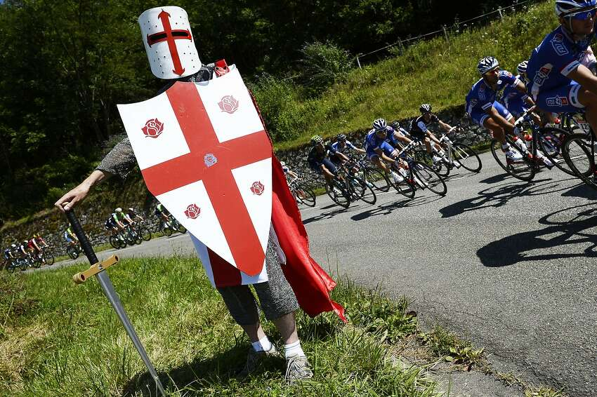 The knights who say 'Nibali': A fan takes time out from his quest for The Grail to watch the 16th stage of the Tour de France between Carcassonne and Bagneres-de-Luchon, France.