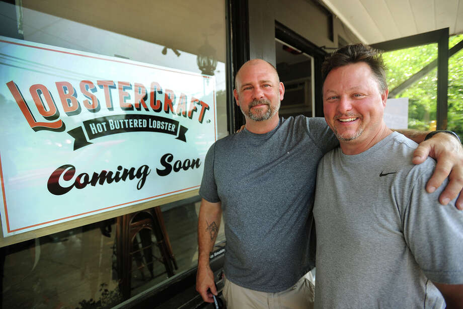 """Captain"" Mike Harden, left, and Trond Fletcher, co-owners of LobsterCraft, a new restaurant/take out featuring a variety of lobster rolls, opening at 284 Tokeneke Road in Darien, on Tuesday, July 22, 2014. Photo: Brian A. Pounds / Connecticut Post"