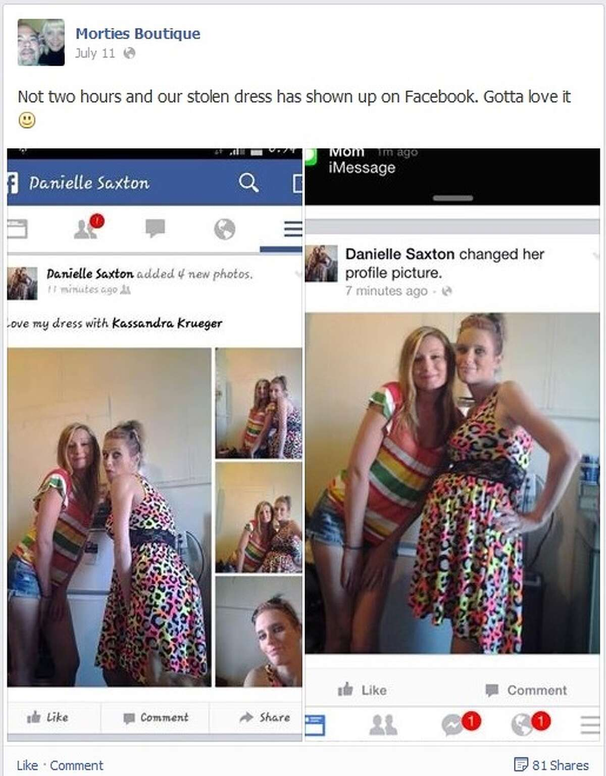 Mortie's Boutique posts pictures of Danielle Saxton posing in a dress it reported stolen.