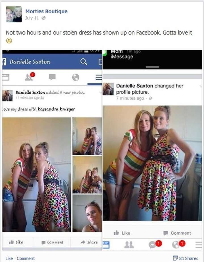 Mortie's Boutique posts pictures of Danielle Saxton posing in a dress it reported stolen. Photo: Facebook
