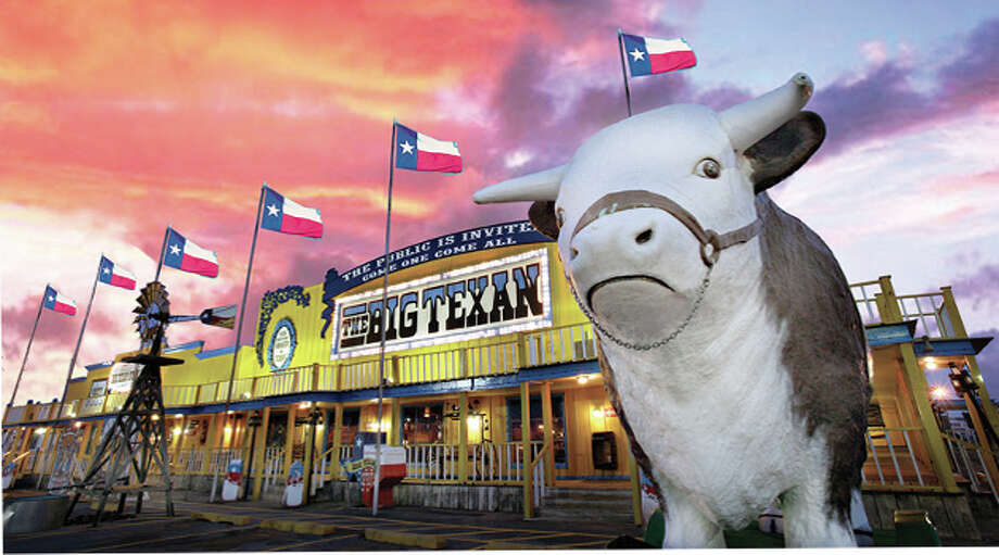 On stop on the Route 66 excursion is The Big Texan. Another group will visit the restaurant on Thursday, and 10 Cadillac owners will compete in the restaurant's 72-ounce steak challenge. Photo: Courtesy/Open Road Productions