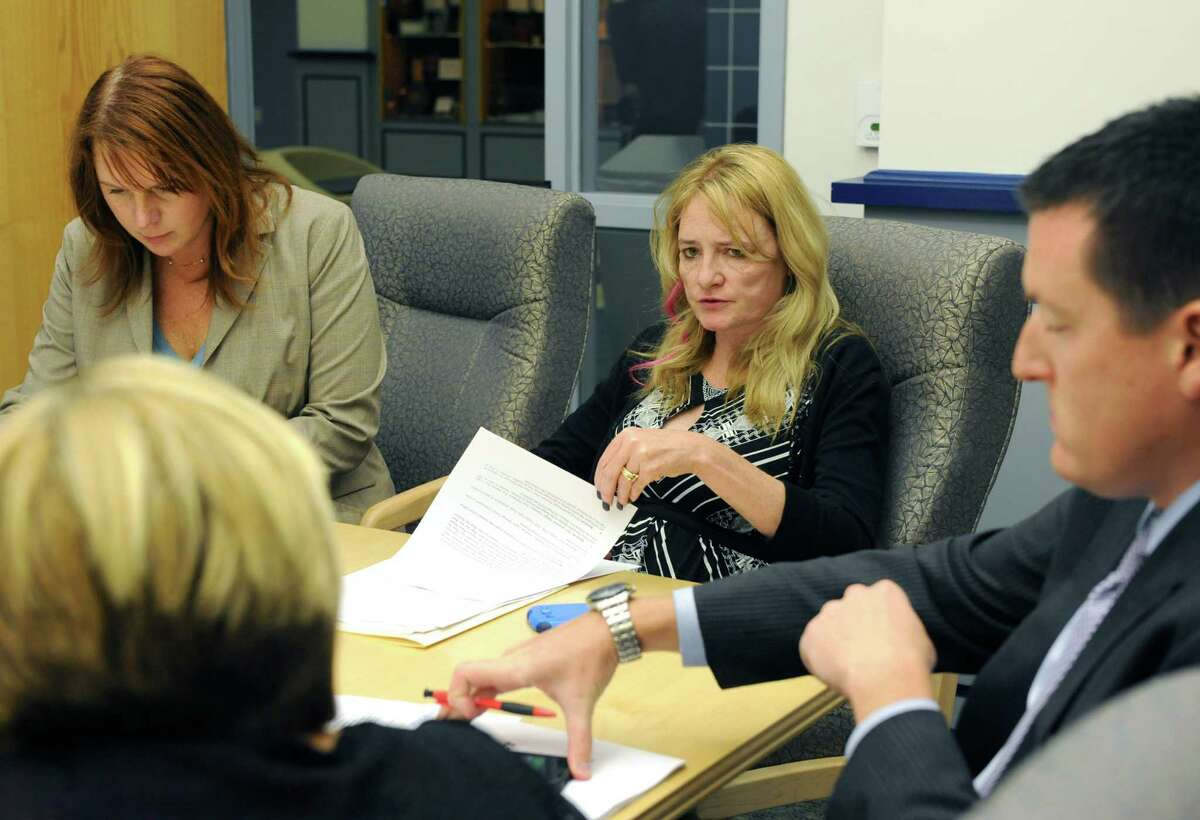 Town of Halfmoon Supervisor Mindy Wormuth, center, during a budget workshop prior to the town board meeting on Wednesday Oct. 2, 2013 in Halfmoon, N.Y. (Michael P. Farrell/Times Union)