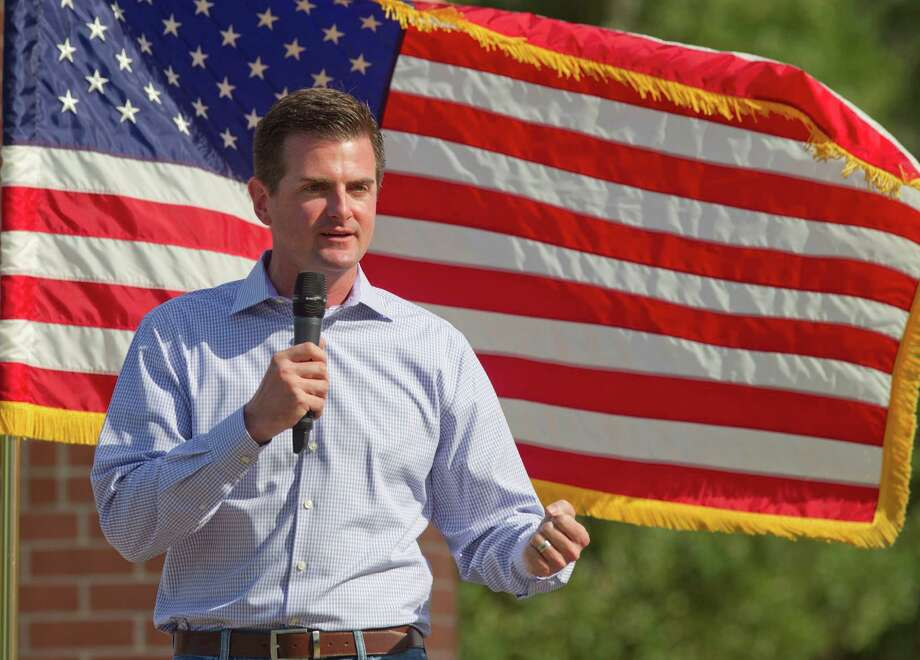 Texas four-term Rep. and state Senate candidate Brandon Creighton speaks during a Texas Patriots Pac rally at Town Green Park, Thursday, May 22, 2014, in The Woodlands, Texas. (AP Photo/The Courier, Jason Fochtman) Photo: Jason Fochtman, MBR / Conroe Courier