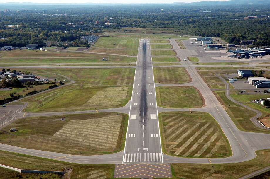 The main runway at Albany International Airport is seen in this photo provided by the airport authority.