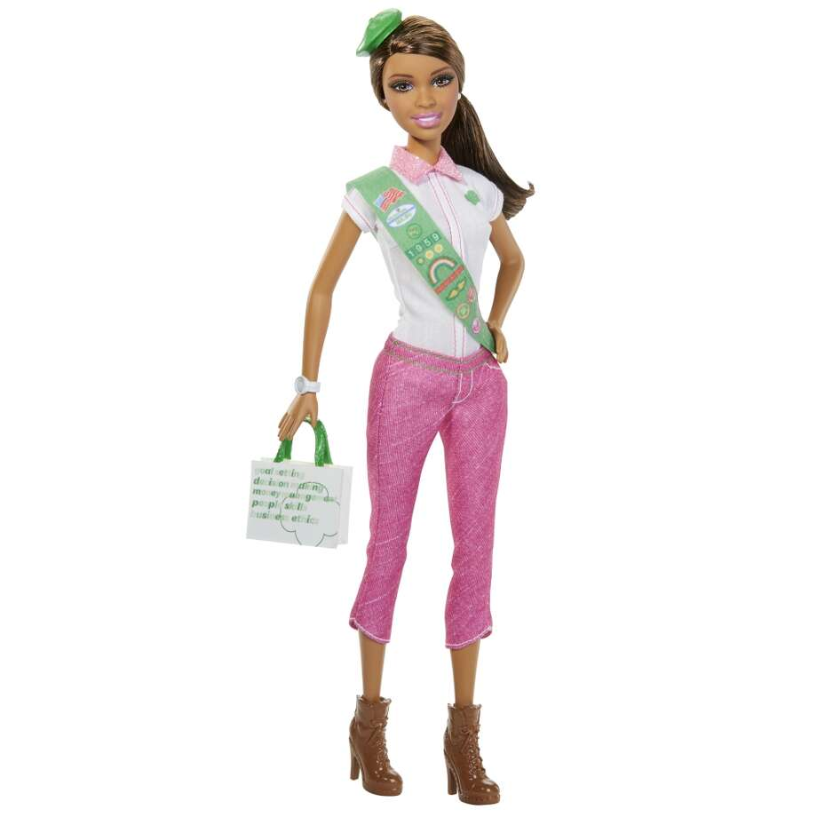 "Girl Scouts Barbie hit store shelves in 2014 and many were outraged by the partnership. The Campaign for a Commercial-Free Childhood wrote in a statement: ""Partnering with Mattel undermines[the Girl Scouts] vital mission to ""build girls of courage, confidence, and character... While Mattel and the Barbie brand benefit enormously from GSUSA's endorsement, the partnership harms girls. In addition to encouraging sexualization, the Barbie brand idealizes a dangerously impossible body type."" Photo: Mattel"