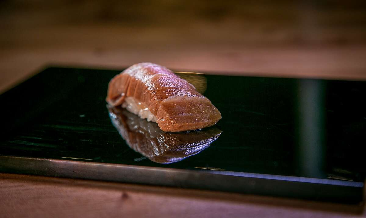 Zuke Chutoro, seared Bluefin tuna cured in Soy sauce at Kusakabe in San Francisco, Calif., is seen on Saturday, July 19th, 2014.
