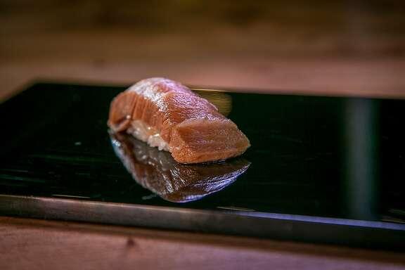 Zuke Chutoro, seared Bluefin tuna cured in Soy sauce at Kusakabe in San Francisco, Calif., is seen on Saturday, July 19th, 2014.