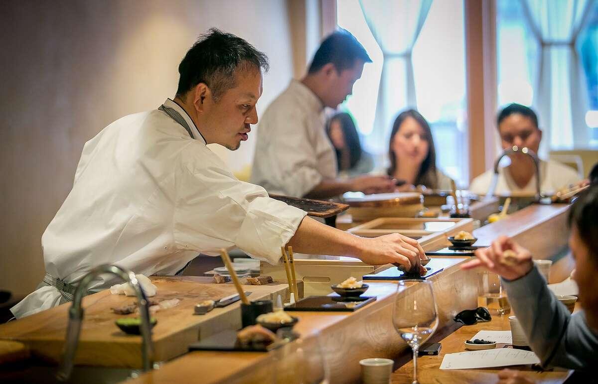 Chef Mitsunori Kusakabe at Kusakabe in San Francisco, Calif., is seen on Saturday, July 19th, 2014.