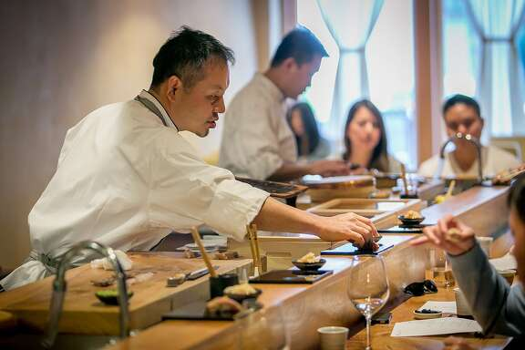 Chef Mitsunori Kusakabe at Kusakabe in San Francisco, Calif., is seen on Saturday, July 19th, 2014.