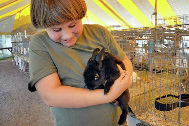 Kohlby Himelrick, 10, of Wilton, with his Mini Rex rabbit Herbert Nennenger on opening day of the Saratoga County Fair Tuesday July 22, 2014, in Ballston Spa, NY.  (John Carl D'Annibale / Times Union) Photo: John Carl D'Annibale / 00027870A