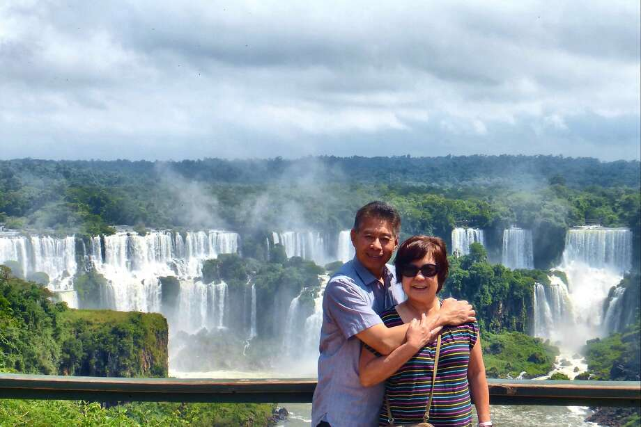 A panoramic view of a portion of the Iguazu Falls on the Brazil side, with Irwin Ver and Gemma Nemenzo Photo: Courtesy Gemma Nemenzo
