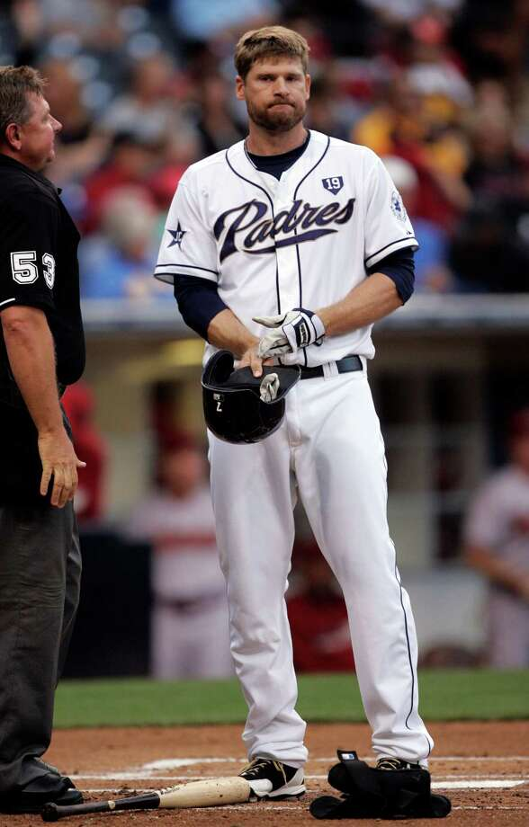SAN DIEGO, CA - JUNE 27:  Chase Headley #7 of the San Diego Padres removes his batting helmet after striking out in the first inning of the game against the Arizona Diamondbacks at Petco Park on June 27, 2014 in San Diego, California. (Photo by Kent C. Horner/Getty Images) Photo: Kent Horner, Stringer / 2014 Getty Images