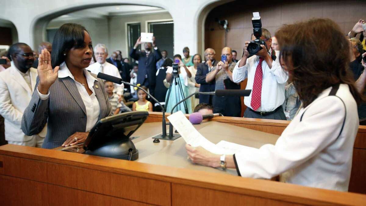 Ivy Taylor takes the oath of office to become San Antonio's new mayor. She replaces outgoing Mayor Julián Castro, who will head the Department of Housing and Urban Development in Washington, D.C.
