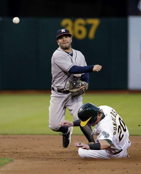 Houston Astros second baseman Jose Altuve, right, turns a double play over Oakland Athletics' Josh Donaldson on a ground ball from Derek Norris during the fourth inning of a baseball game on Tuesday, July 22, 2014, in Oakland, Calif. (AP Photo) Photo: STF / AP