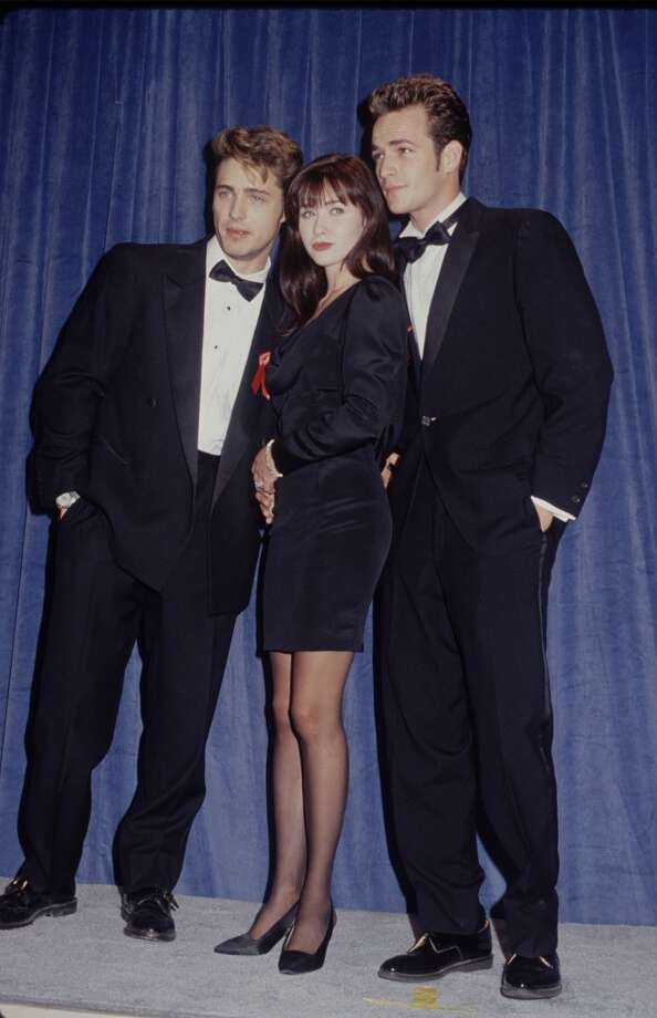 "Brenda Walsh and Dylan McKay""Beverly Hill 90210"" was famous for its teen pairings on screen as well as off. Among the most iconic couples from the series was on-again. off-again Brenda Walsh (Shannen Doherty) and Dylan McKay, (Luke Perry, seen at right with Doherty and Jason Priestley). She was the series brunette bad girl, he was the brooding rebel; together they were the favorite teen couple of many fans in the zip code. Remember: ""If it walks like a duck…"" Photo: Time & Life Pictures, The LIFE Picture Collection/Gett"
