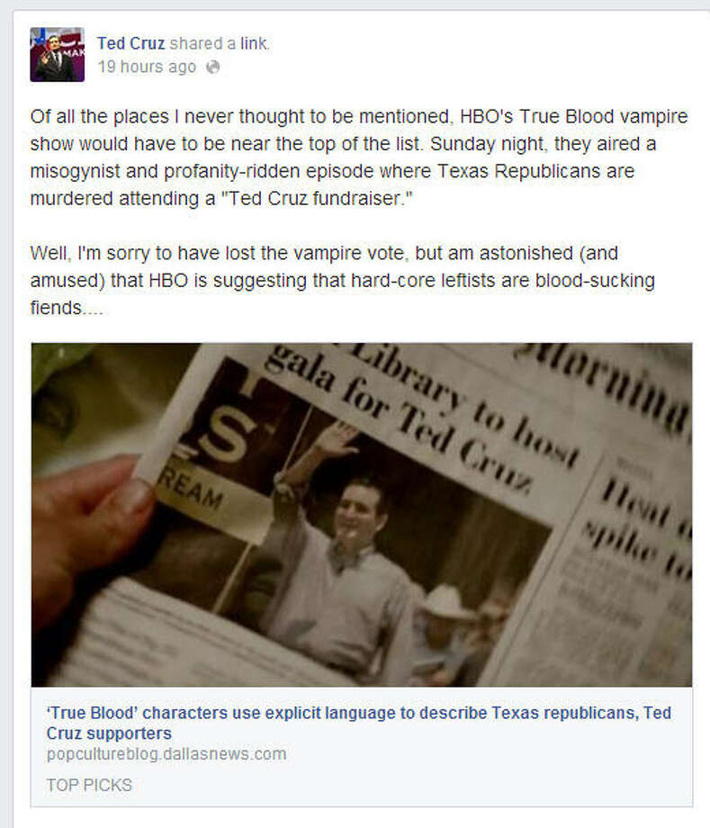 Senator Ted Cruz took to Facebook to express his displeasure at being featured on HBO's 'True Blood.' View the post on Cruz' Facebook page.