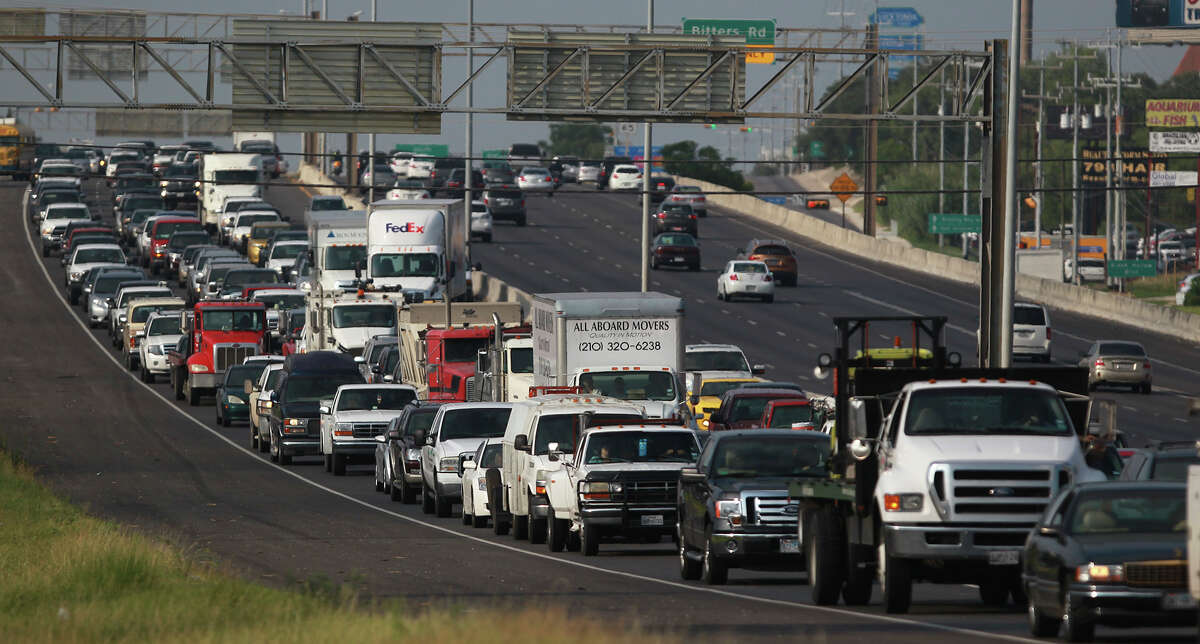 Bexar County Number of driving registrations: 1,176,230Number of uninsured registrations: 173,604Percent of uninsured registrations: 14.76%Pictured, Traffic backs up while San Antonio Fire Department paramedics monitor the scene of a rollover accident involving a minivan Wednesday July 23, 2014 shortly after 9:00 a.m. on the northbound lanes of the 16,000 block of U.S. Highway 281 North between Brook Hollow and Thousand Oaks. Police at the scene said the van skidded out of control hitting the center barrier and that there were no serious injuries. Traffic flowing north was backed up for about an hour.