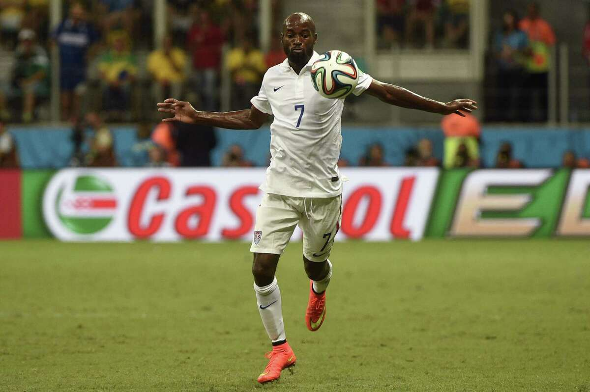 US defender DaMarcus Beasley controls the ball during a Round of 16 football match between Belgium and USA at Fonte Nova Arena in Salvador during the 2014 FIFA World Cup on July 1, 2014. AFP PHOTO / MARTIN BUREAUMARTIN BUREAU/AFP/Getty Images