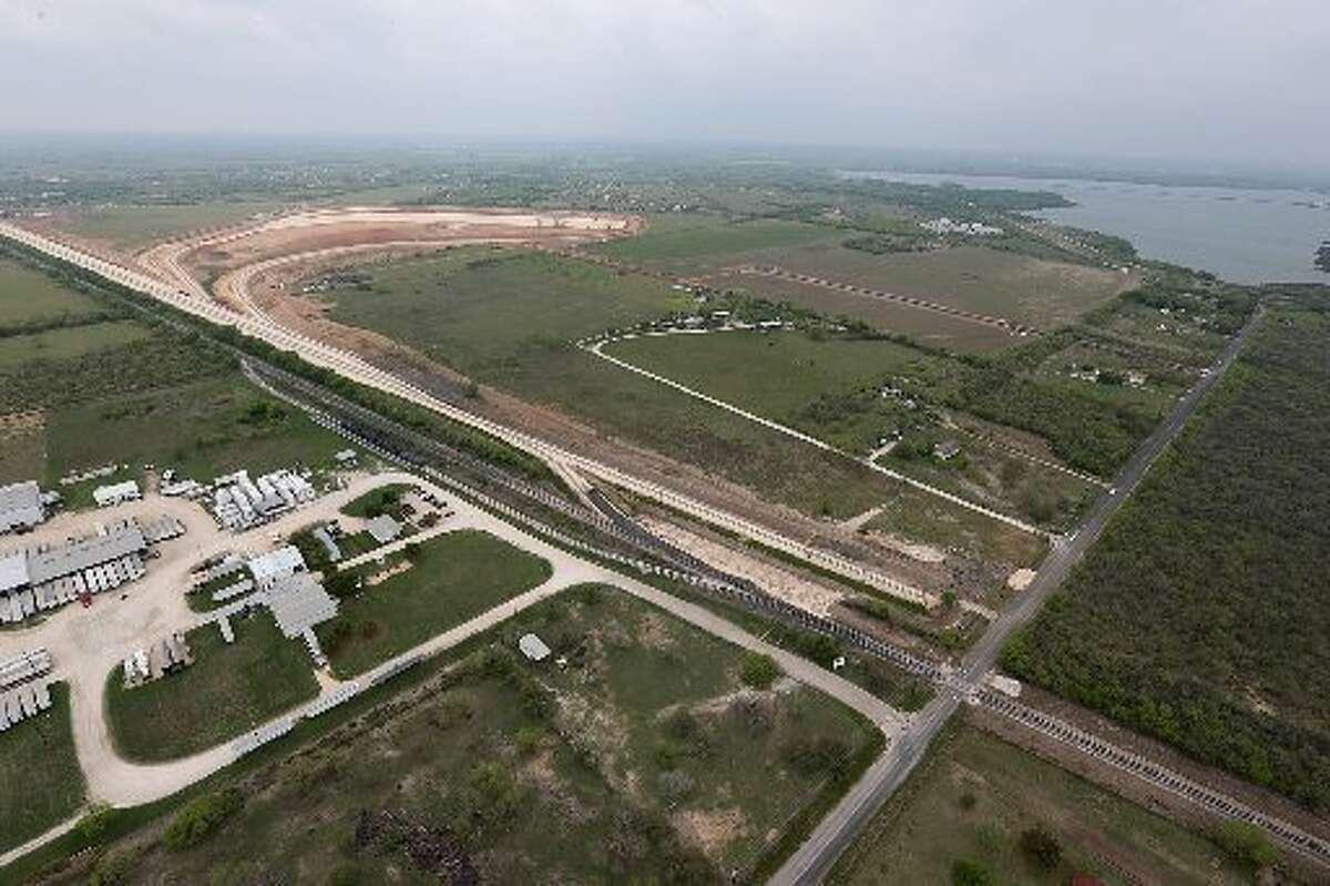 Aerial view of the Alamo Junction Rail Park near Elmendorf in Bexar County, home of Halliburton's Elmendorf South Texas Sand Plant. (Jerry Lara/San Antonio Express-News file photo)