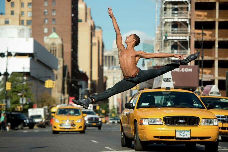 A photo from Houston Ballet's Instagram gallery shows corps de ballet dancer Harper Watters in New York City during a 2013 tour. Photo: Jordan Matter / jordanmatter.com