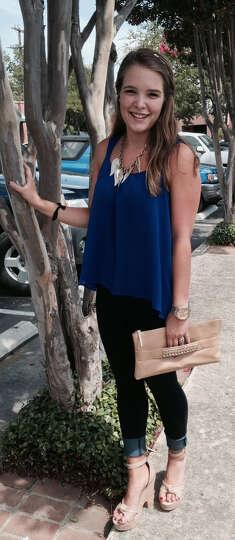 Sarah Burkholder a perfect example of a fashion balancing act. Here her voluminous cobalt blu