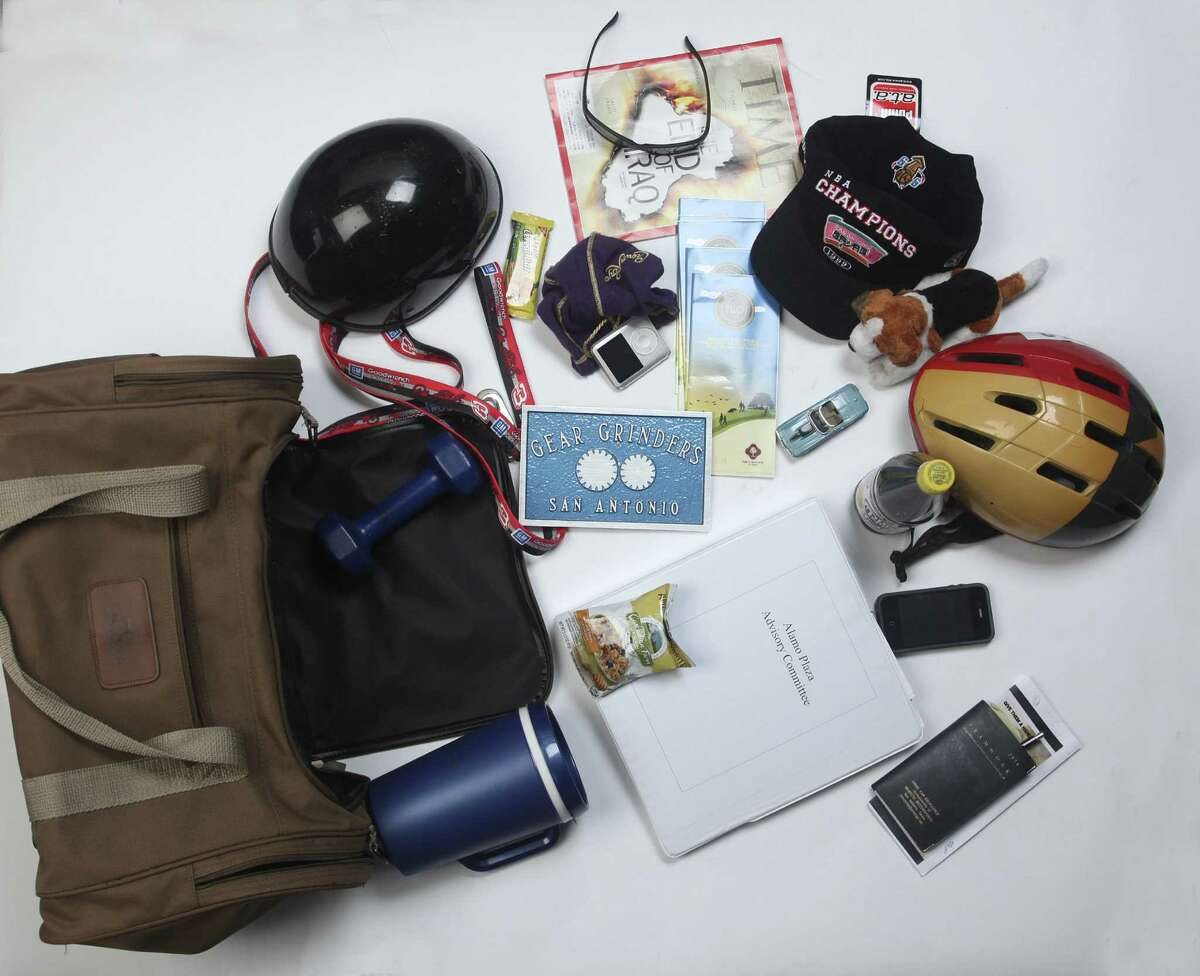 The contents of Howard Peak's bag reflect safety, preparedness and a love of the outdoors.