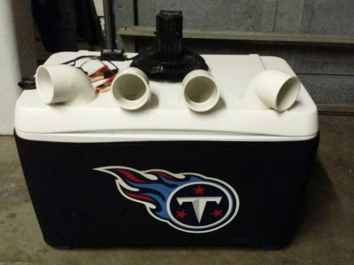 Jacob's Cooler are custom-made and can have simple add-ons, such as an NFL team logo.
