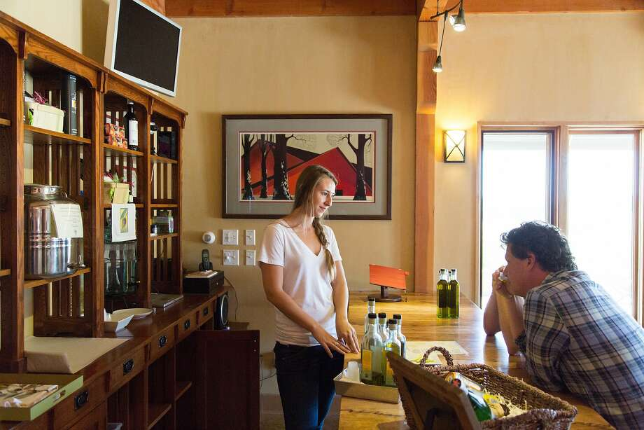 Kiler Ridge Olive Farm serves five extra virgin olive oils, in its tasting room and also sells olive balms and soaps. Photo: Jason Henry, Special To The Chronicle