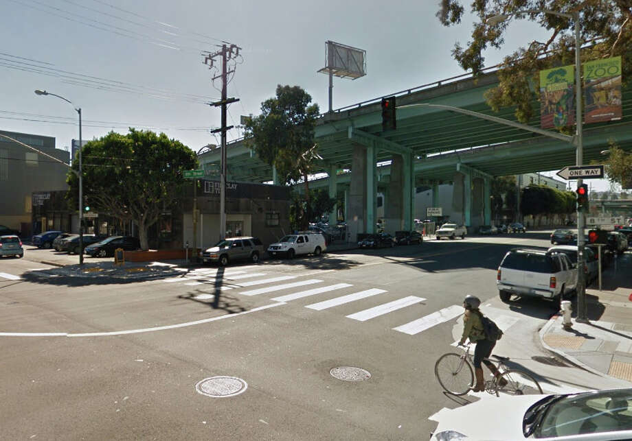Oakland resident George Schnakenberg III appeared to suddenly collapse while riding south on Eighth Street past Brannan Street on Wednesday morning. Photo: Google Maps