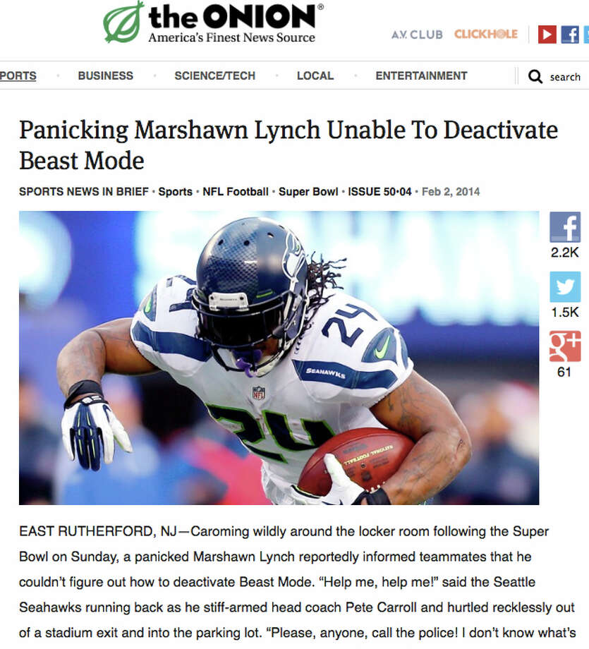"Speaking of Seattle franchises ... Lynch and his ""beast mode"" may be experiencing a decline in yards-per-carry ... but with the Super Bowl ring on his finger, Seattle will smile at every mention of said ""mode."" (See The Onion story.) Photo: Multiple"