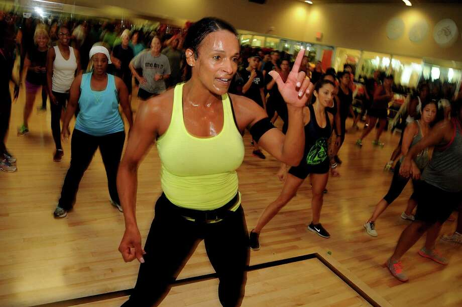 Tammy Harris leads her hugely popular Soul Grooves class at Life Time Fitness on Will Clayton Parkway Saturday July 12, 2014. (Dave Rossman photo) Photo: Dave Rossman, Freelance / © 2014 Dave Rossman