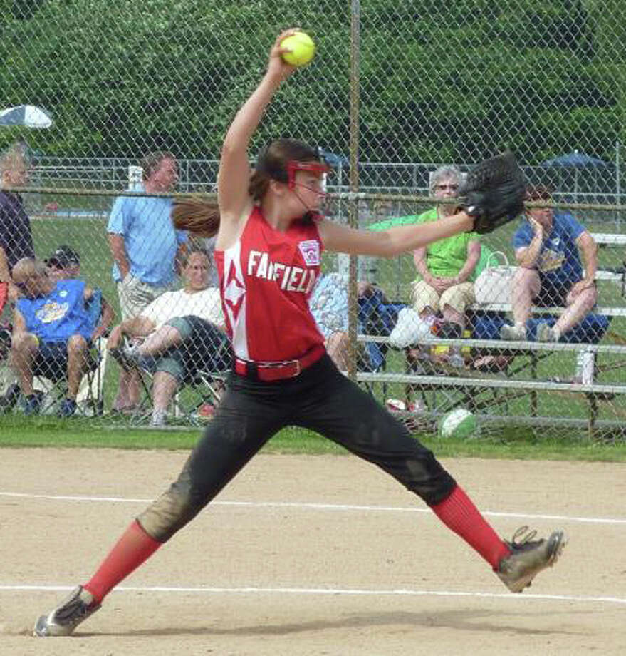 Kylee Holderied, Fairfield's pitcher, on the mound at the state Little League softball championship tournament for 11 year olds last week in Rocky Hill. She gave up three hits and had a perfect game as Fairfield went 3-0 to win the state title by defeating Seymour and Waterford twice. Photo: Contributed Photo / Fairfield Citizen