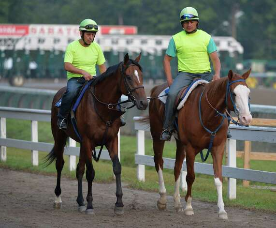 Possible Jim Dandy Stakes entrant Kid Cruz, left heads to the track early Wednesday morning July 23, 2014 for his exercise on the main track at the Saratoga Race Course in Saratoga Springs.     (Skip Dickstein / Times Union) Photo: SKIP DICKSTEIN, ALBANY TIMES UNION